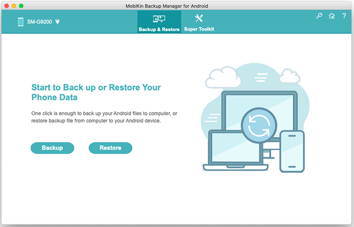 main screen of android backup and restore for mac