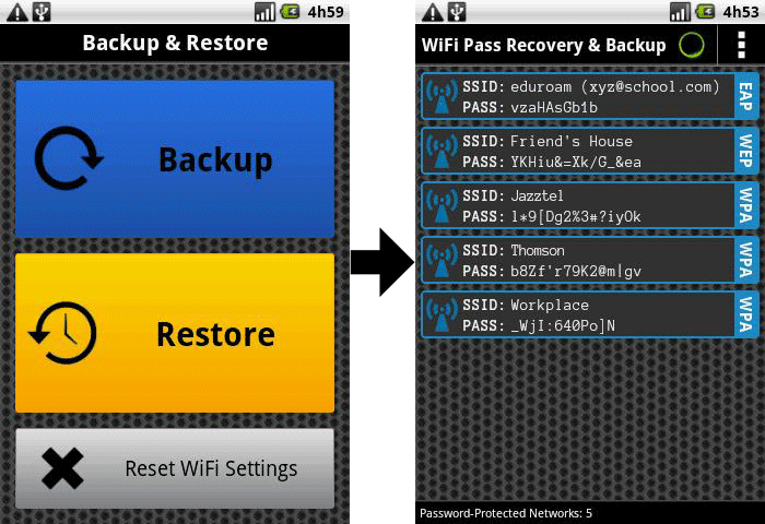 backup wifi on android
