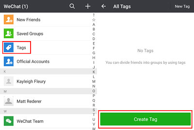 create tags for wechat contacts