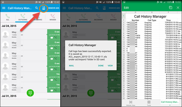 export android call logs to excel