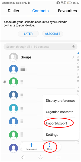 transfer android contacts to gmail