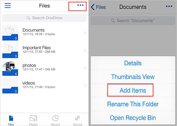 add items to onedrive