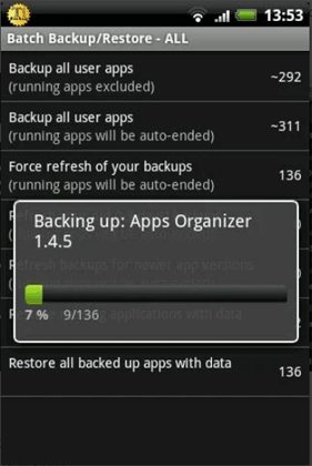 backup applications on android