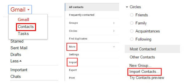 login to gmail account and choose to import contacts
