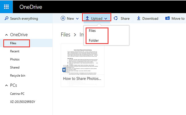 upload files to onedrive