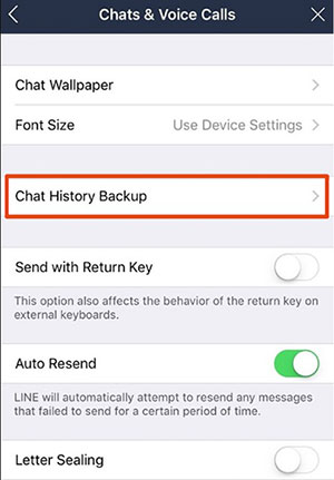 how to back up line chat history on iphone via icloud