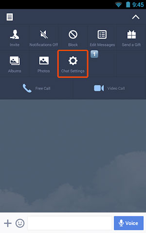 go to chat settings on the line app