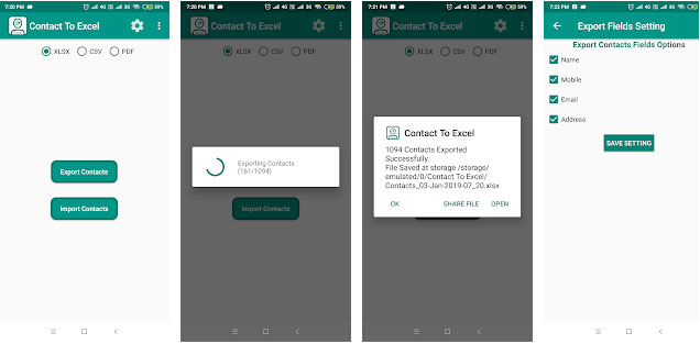 export android contacts to excel with contact to excel app