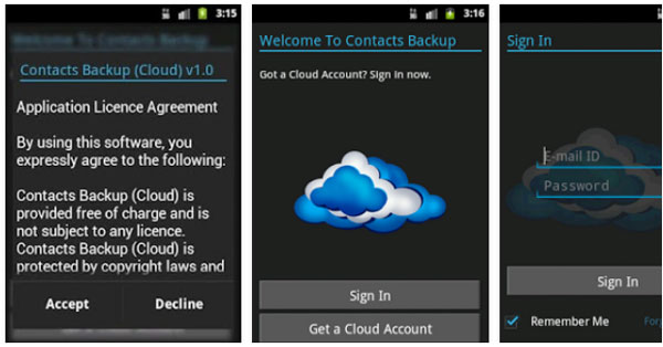 free contacts backup