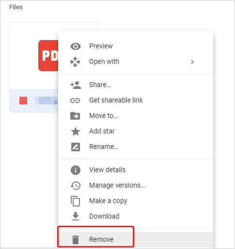 remove files from google drive