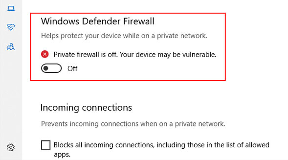 fix onedrive not working by disabling firewall