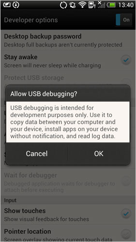 open usb debugging on htc 7