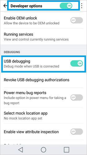 open usb debugging on lg 6