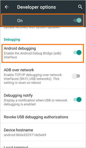 tap android debugging