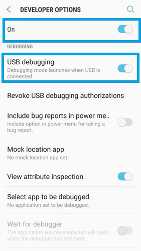 open usb debugging on samsung s7 6