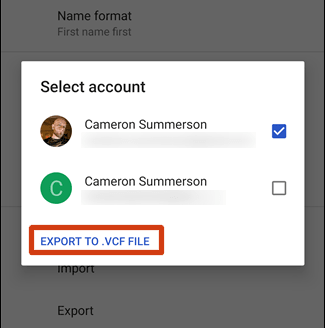 how to export contacts from android via google contacts