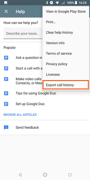 print android call logs with google duo