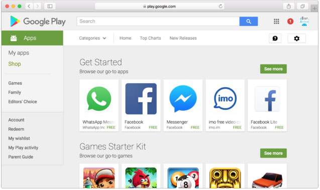 install android app from pc via google play website