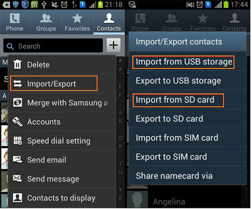 transfer contacts from pc to phone by importing vcf files