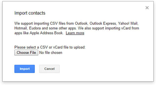 import vcf file to gmail