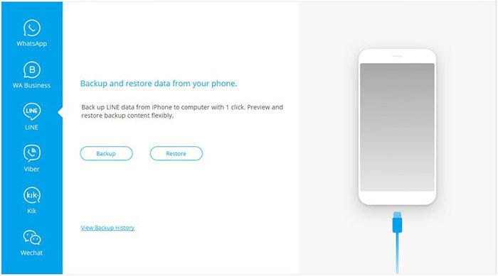 click backup to back up line app data