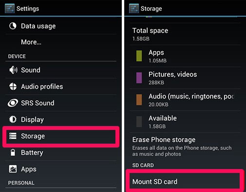 mount android sd card