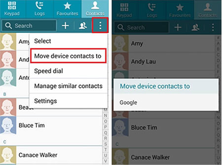 back up sony contacts to gmail