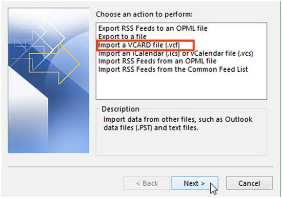 import vcard file to outlook