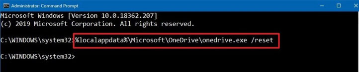 solve onedrive sync issues by reseting onedrive