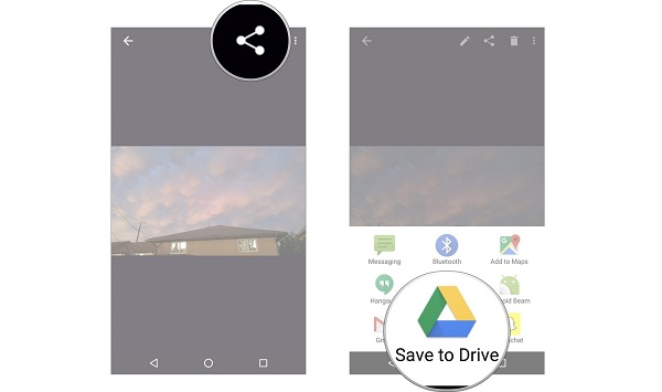 save android photos to google drive