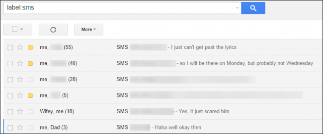check backed up sms on gmail