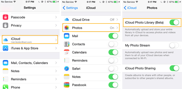 get photos from computer to iphone with icloud