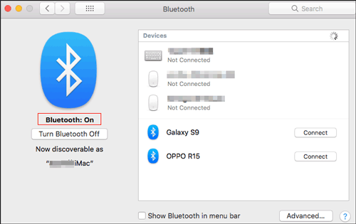 open the bluetooth on the mac