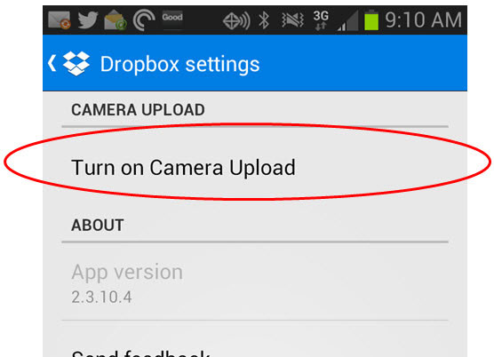 enable camera upload