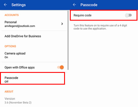 switch on passcode feature on onedrive