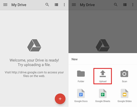upload songs to google drive