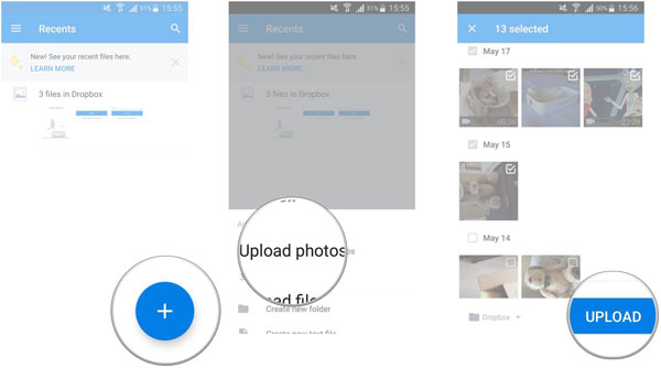 add android photos to dropbox