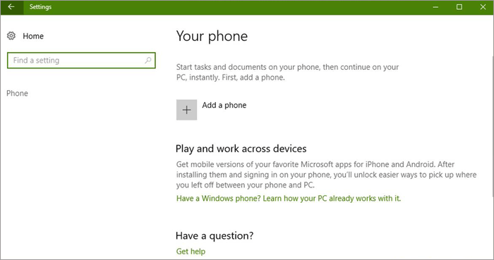 add a phone on windows 10