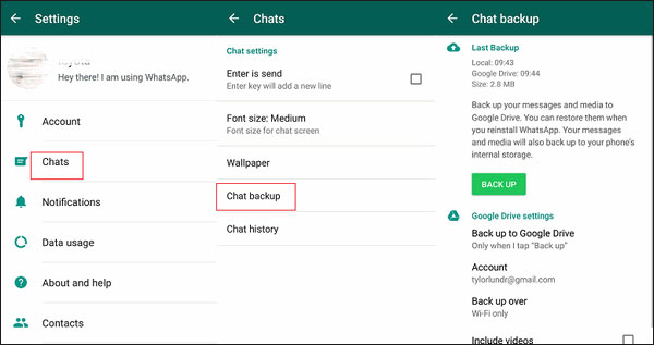 back up whatsapp messages to google drive