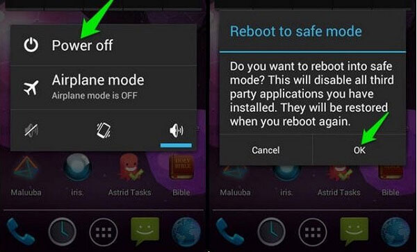 restart android phone to safe mode