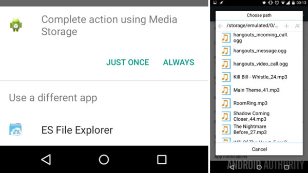 use es file explorer to change notification sounds