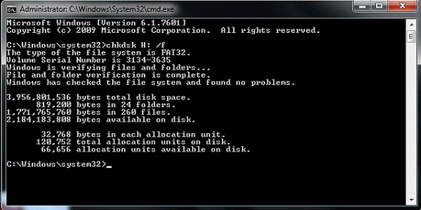 use chkdsk command to fix corrupted sd card