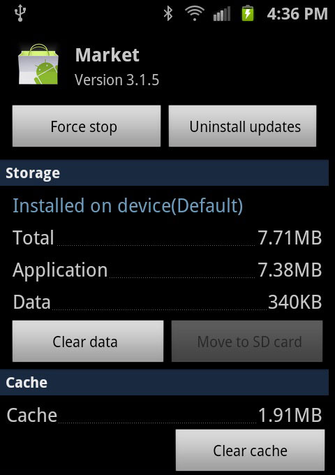 clear app cache and data