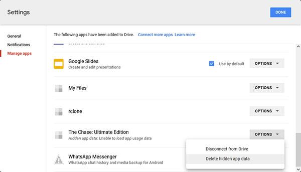 delete app data from google drive