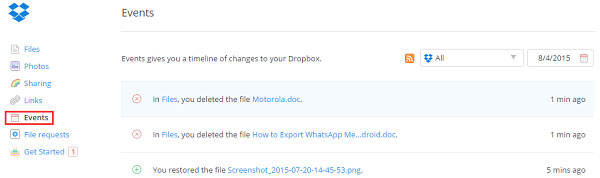 log in dropbox for document recovery