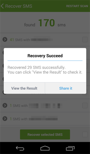 sms recovery finished