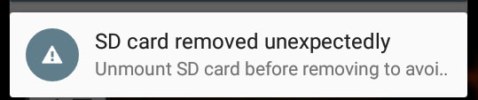 fix android sd card removed unexpectedly