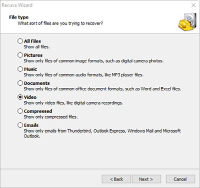 choose file from recuva