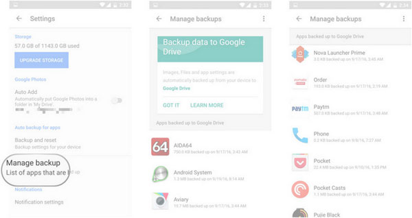 how to manage google backup