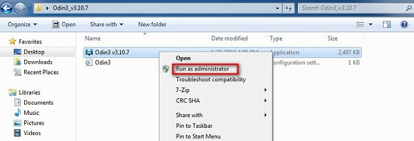 choose the run as administrator option